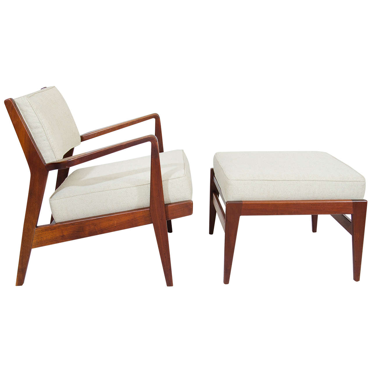 Jens Risom Lounge Chair and Ottoman at 1stdibs