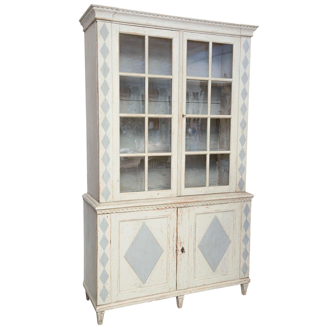 18th Century Antique Gustavian Swedish Cabinet With Original Glass Doors For