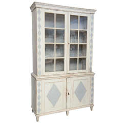 18th Century Antique Gustavian Swedish Cabinet with Original Glass Doors