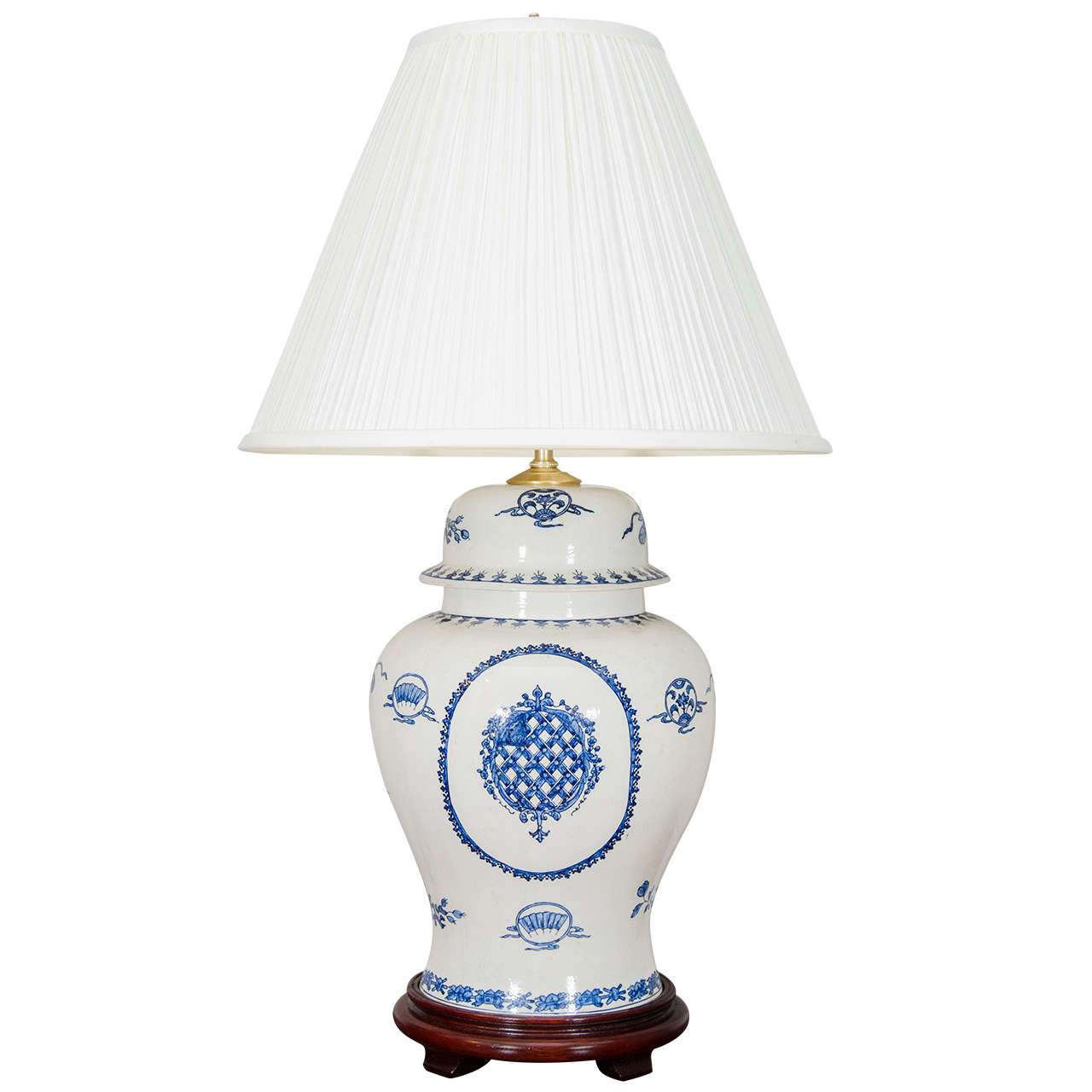 20th century blue and white porcelain temple jar lamp at. Black Bedroom Furniture Sets. Home Design Ideas
