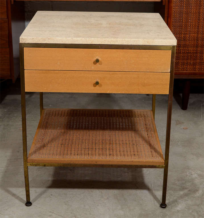 Pair of Paul McCobb brass travertine bedside tables- Calvin image 2