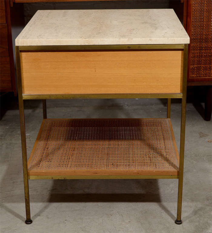 Pair of Paul McCobb brass travertine bedside tables- Calvin image 8