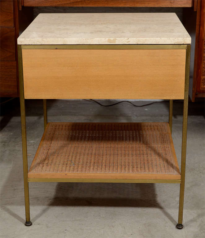 Pair of Paul McCobb brass travertine bedside tables- Calvin image 10