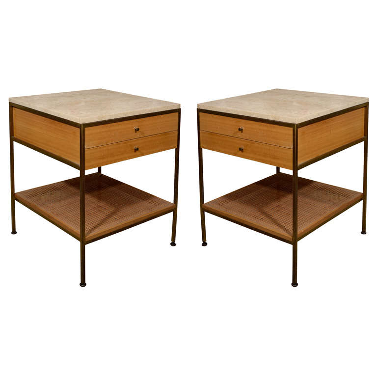 Pair of Paul McCobb brass travertine bedside tables- Calvin