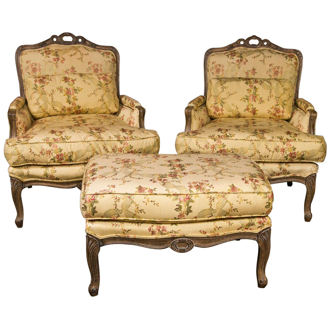 A Pair Of Period French Chairs With Missoni Fabric At 1stdibs: French Louis XV Style Duchesse Brisee By Jansen At 1stdibs