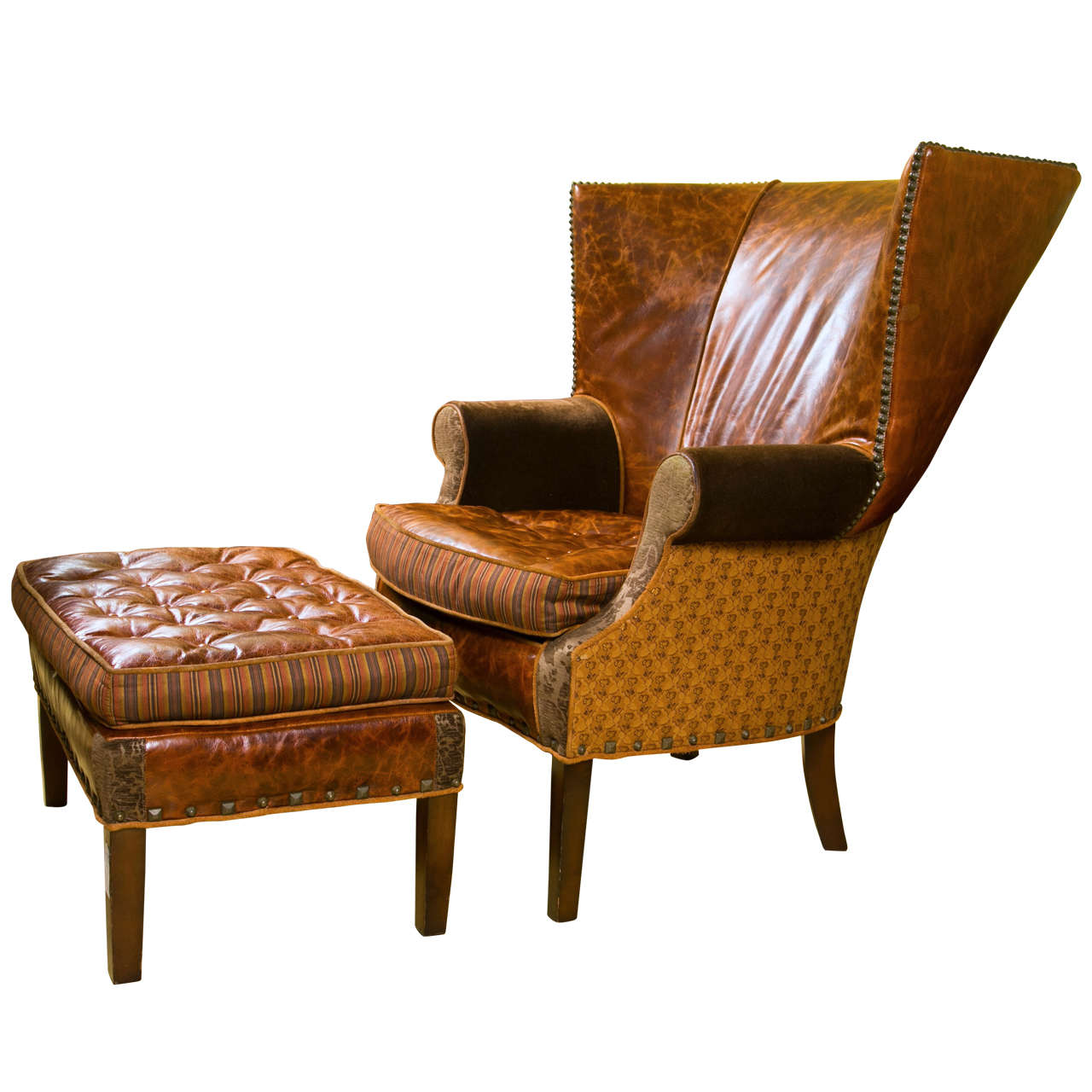 Bon A Jeff Zimmerman Wingback Chair And Matching Ottoman For Sale