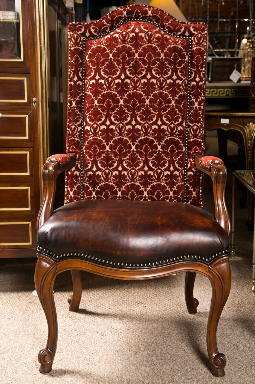 Set Of 8 French Provincial Style High Back Dining Chairs