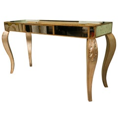 Hollywood Regency Style Mirror Console Table With Gold Gilt Frame Single Drawer