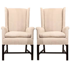 Gorgeous Pair Of Wingback Chairs