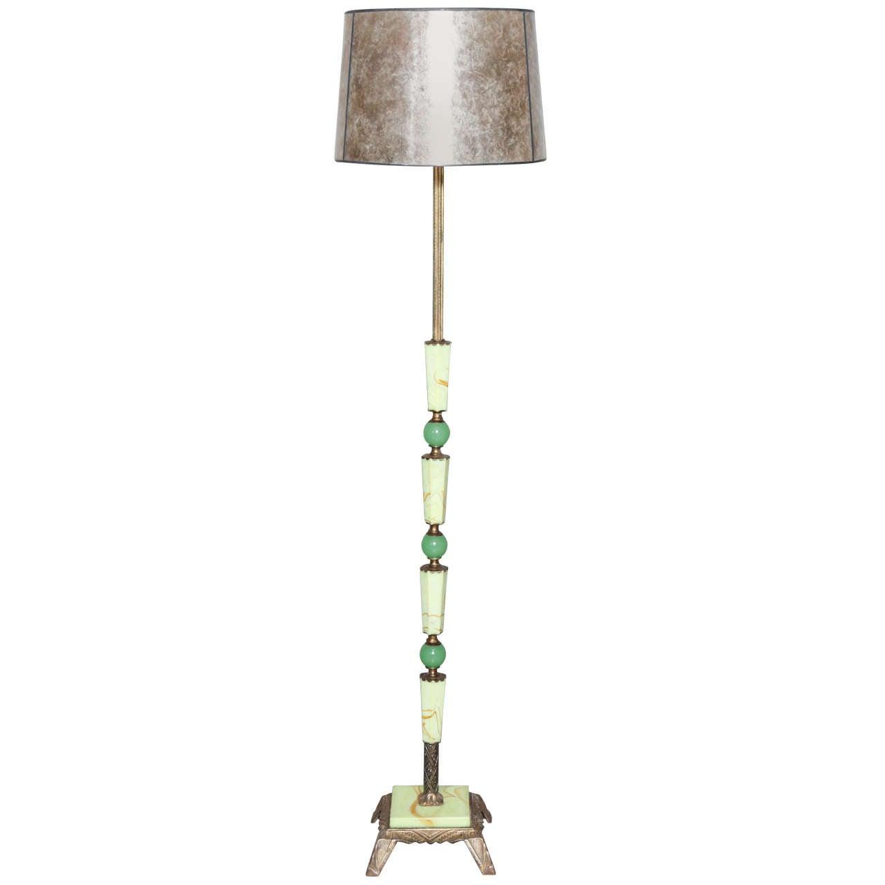Art deco agra agate floor lamp for Floor standing art deco lamp