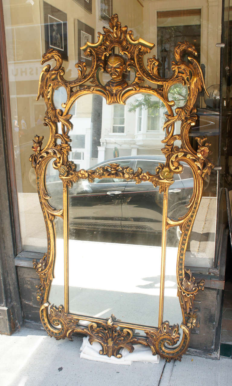 Edwardian Large Chinese Chippendale Style Gilded Mirror At