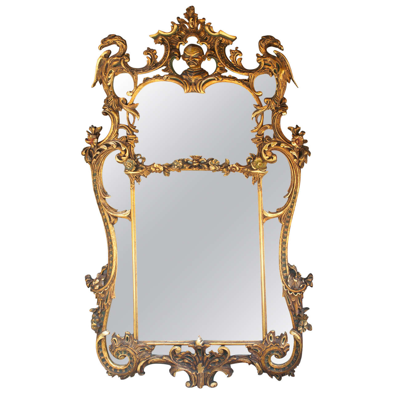 Edwardian large chinese chippendale style gilded mirror at for Asian style mirror