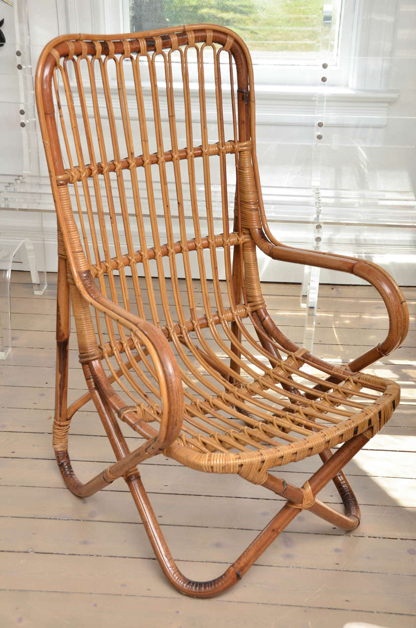 Pair of bamboo armchairs.