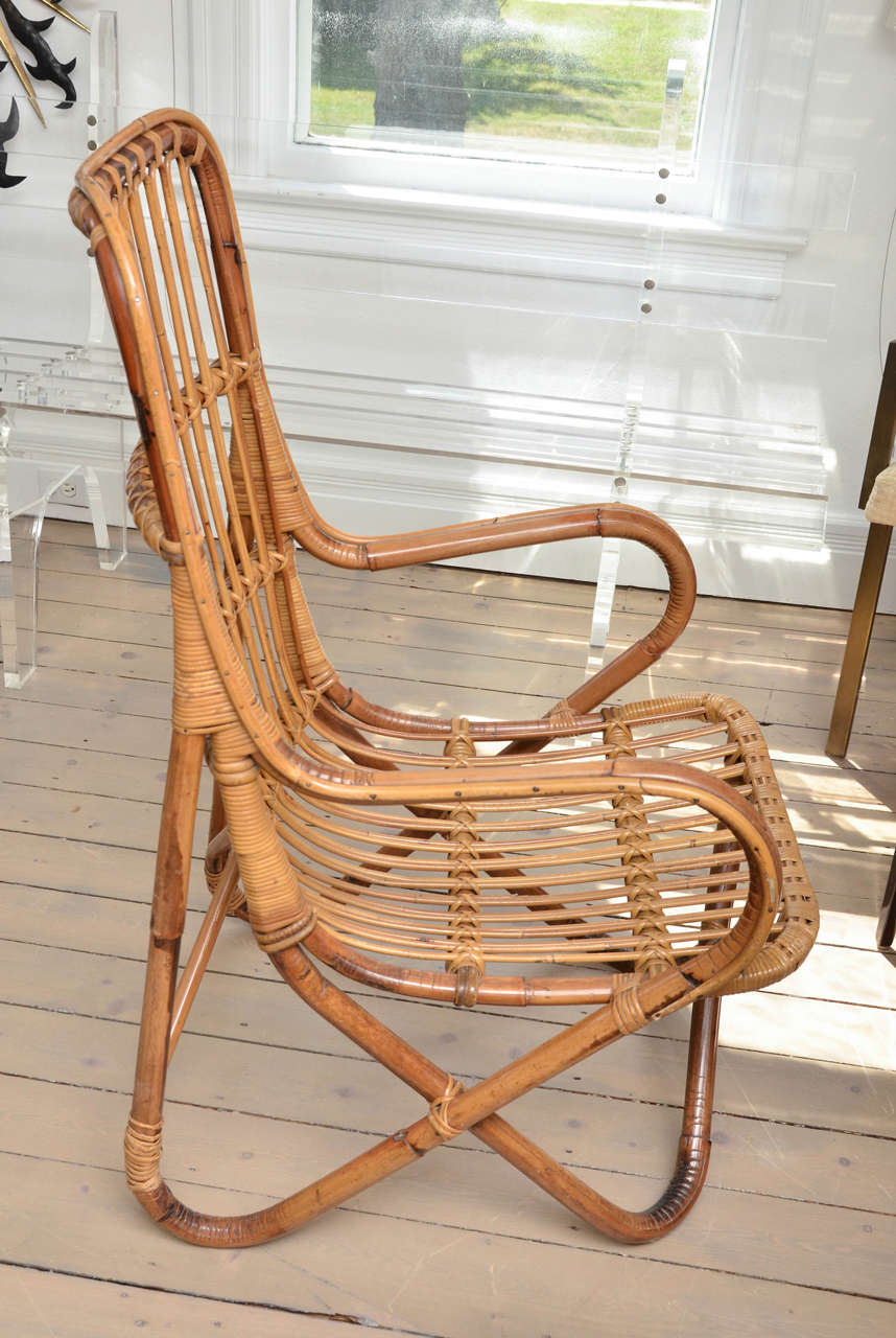 Italian Pair of Bamboo Armchairs For Sale