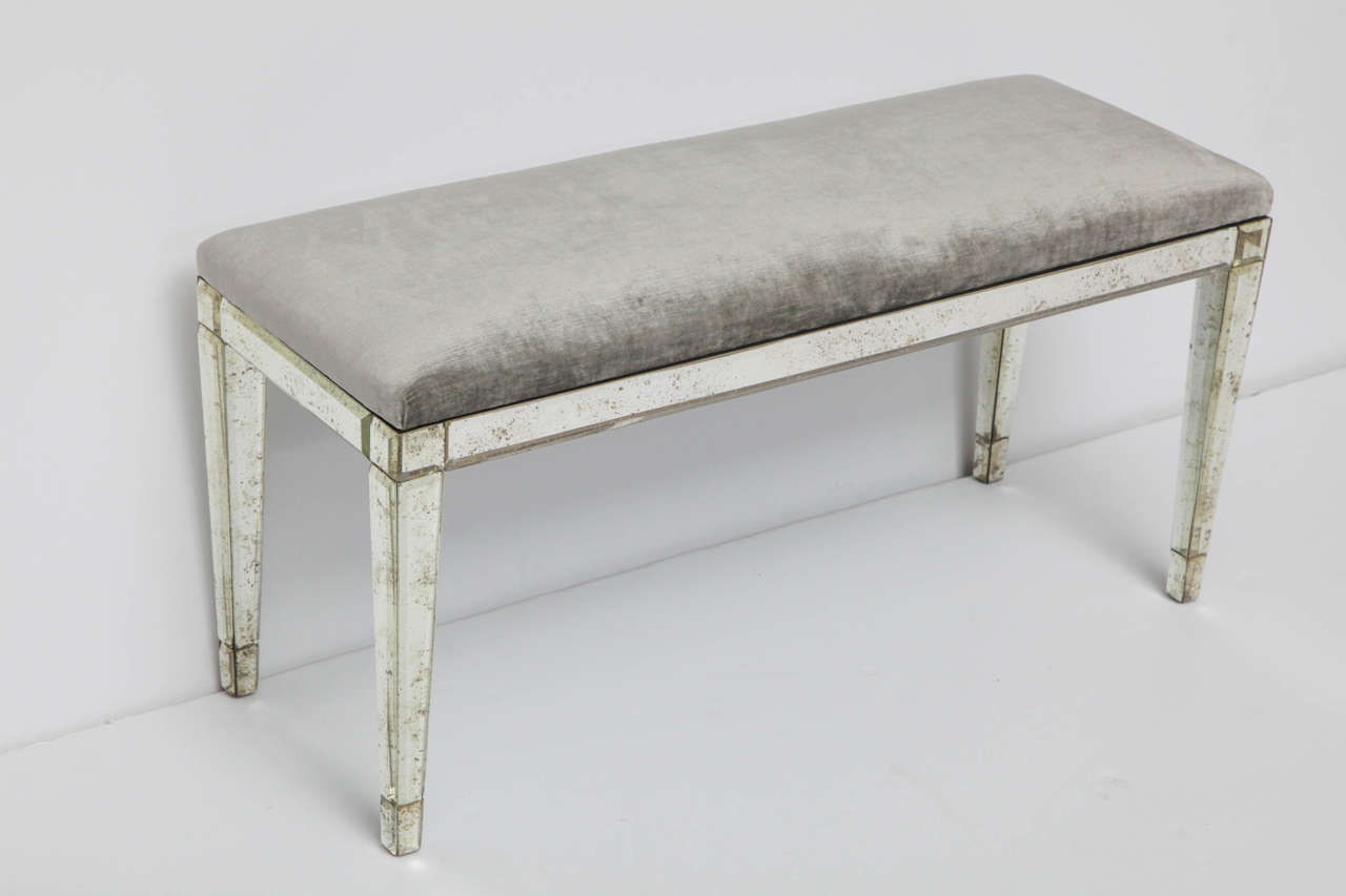 Mirrored Glass Bench In The Manner Of Serge Roche At 1stdibs