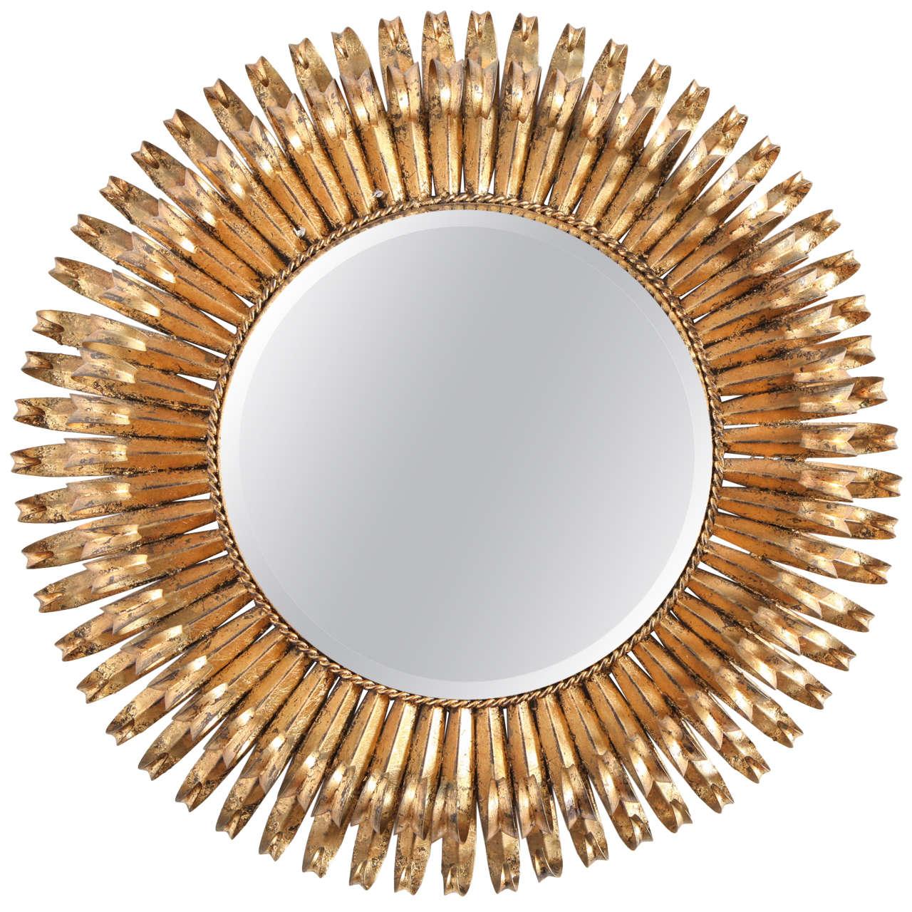 Gilt Iron Sunburst Wall Mirror, Italy, C. 1950 For Sale