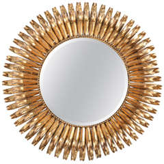 Gilt Iron Sunburst Wall Mirror, Italy, C. 1950