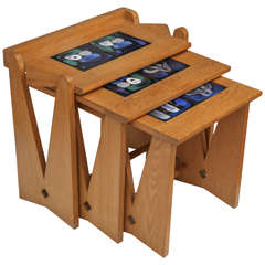 Set of Oak and Ceramic Nesting Tables by Robert Guillerme