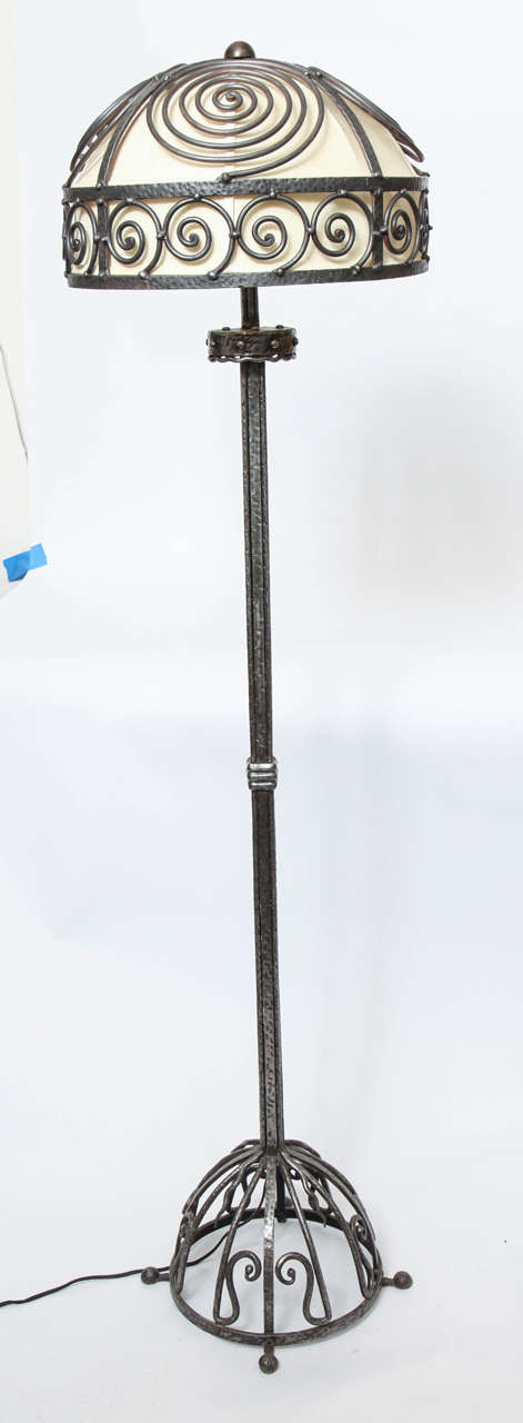 A 1920s, French Art Deco hand-wrought iron floor lamp.