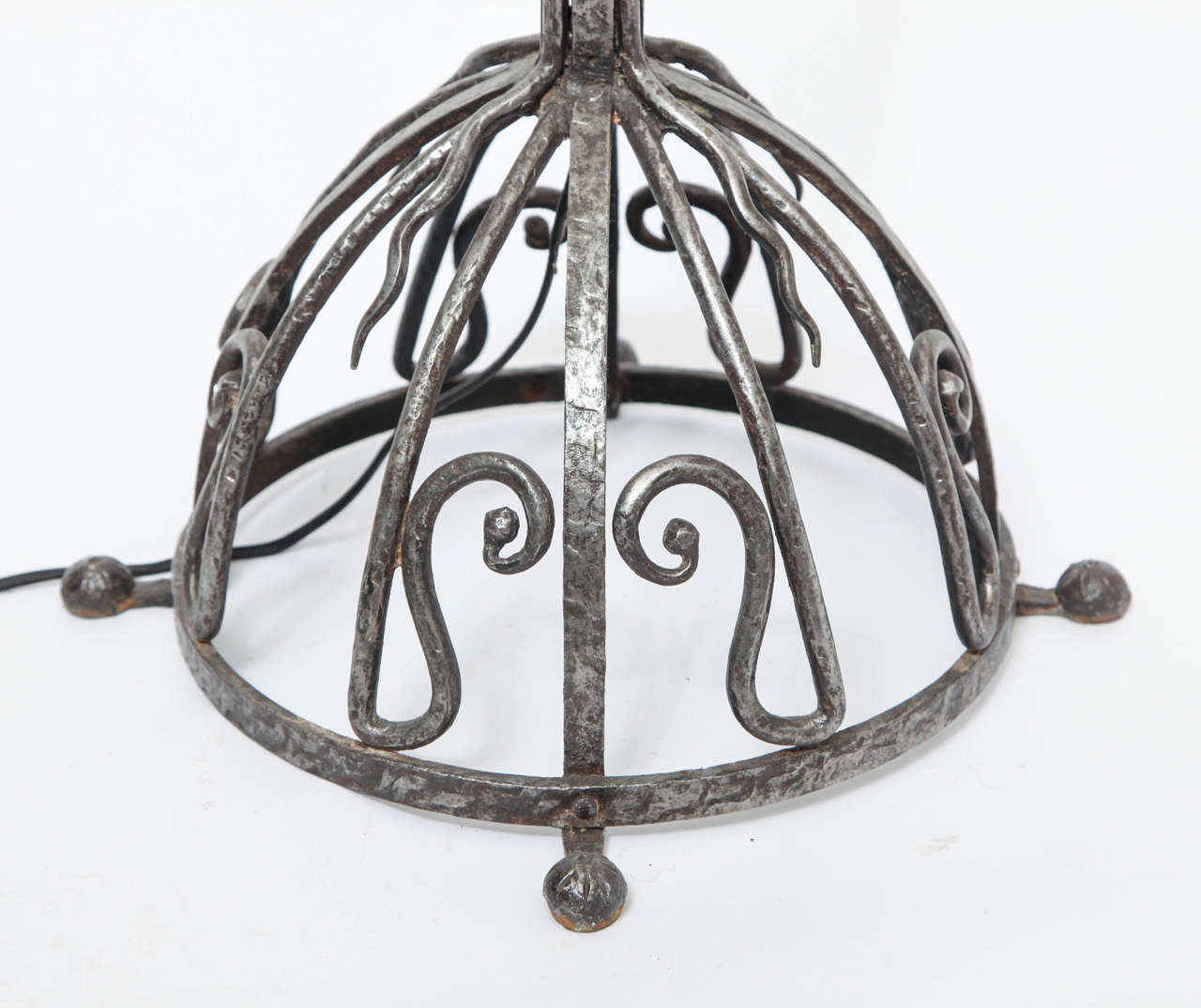 French Art Deco, Hand-Wrought Iron Floor Lamp For Sale 1