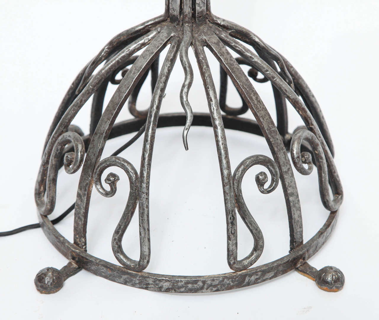 French Art Deco, Hand-Wrought Iron Floor Lamp For Sale 2