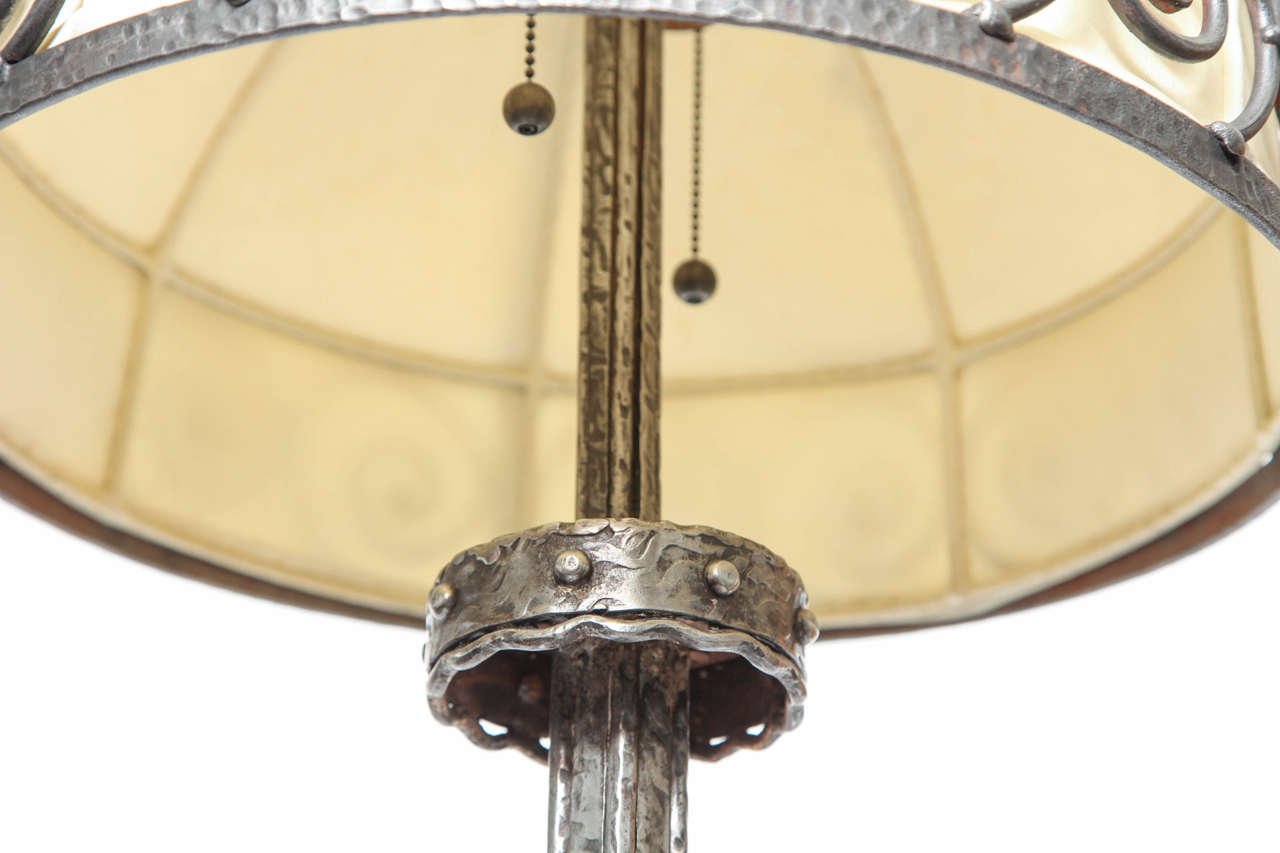 French Art Deco, Hand-Wrought Iron Floor Lamp For Sale 4
