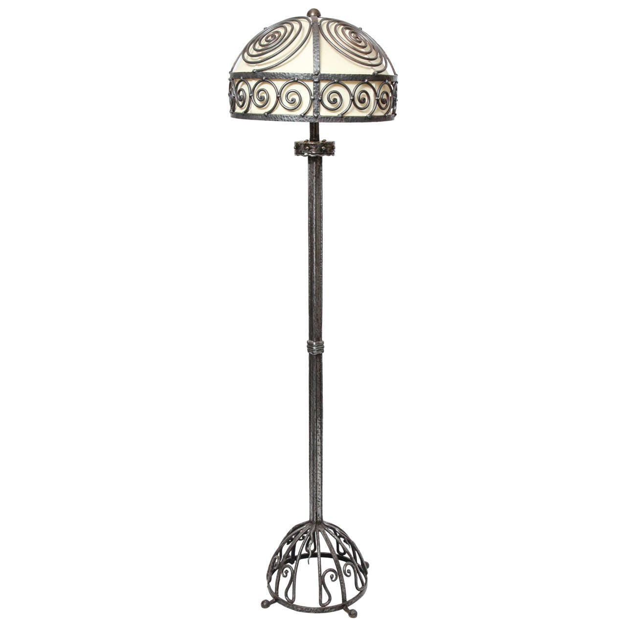 French Art Deco, Hand-Wrought Iron Floor Lamp For Sale
