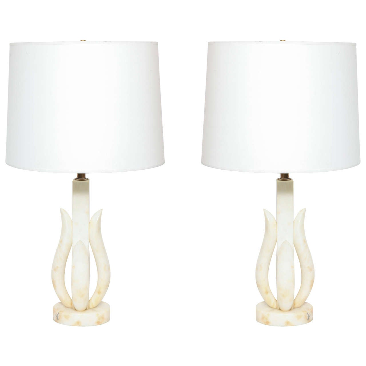 Pair of 1950s Italian Alabaster Table Lamps