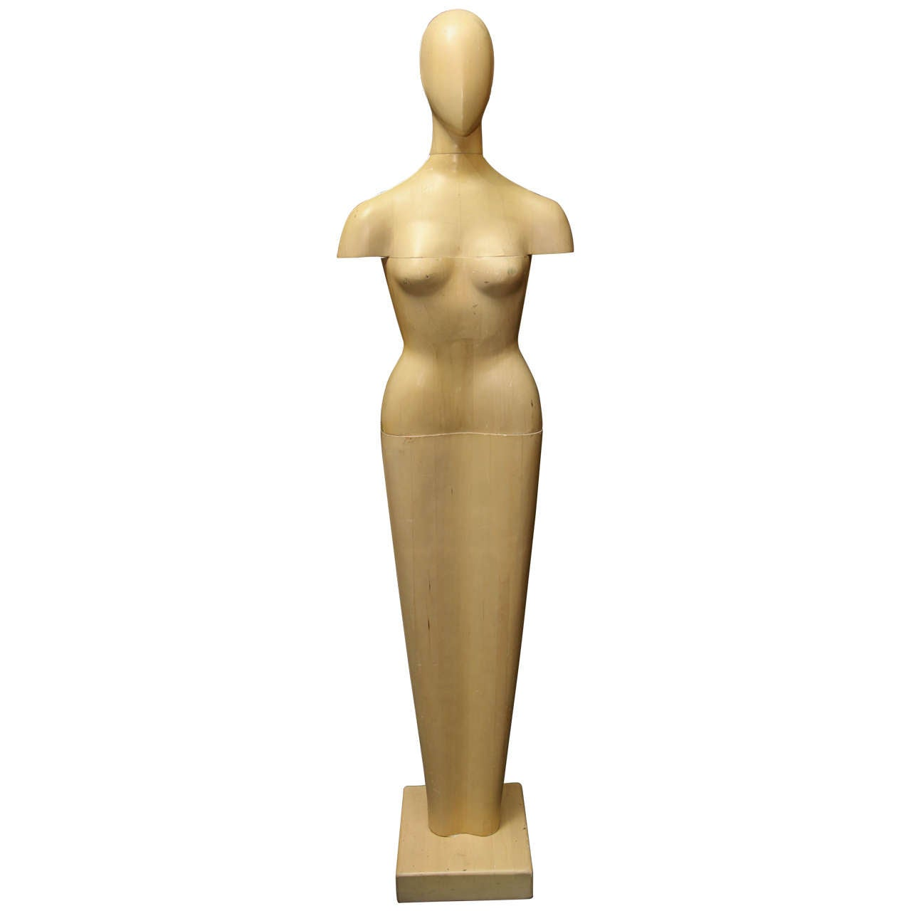 Life-Size Wood Sculpture of Female Form For Sale