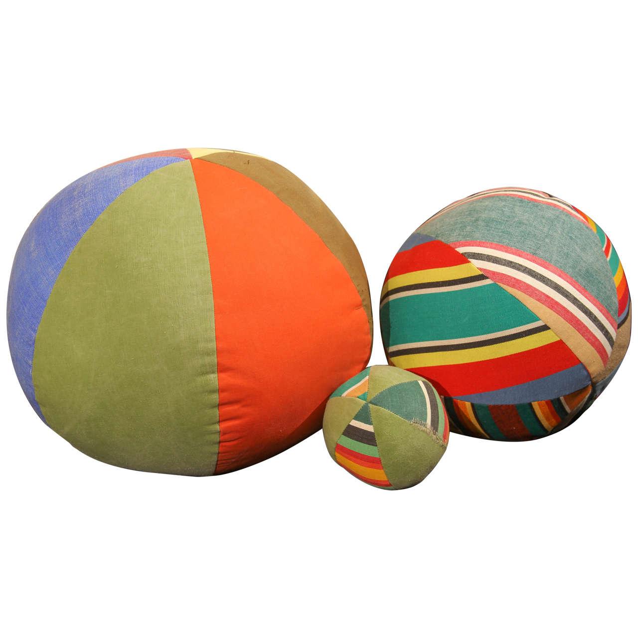 Three Vintage Canvas Beach Balls At 1stdibs