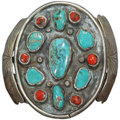 Navajo Silver Bracelet with Turquoise and Coral
