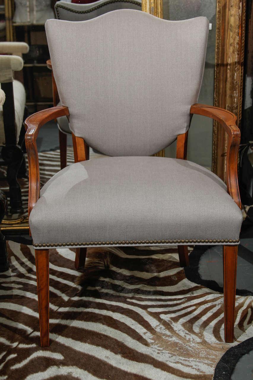 Grey Linen Side Chair 3