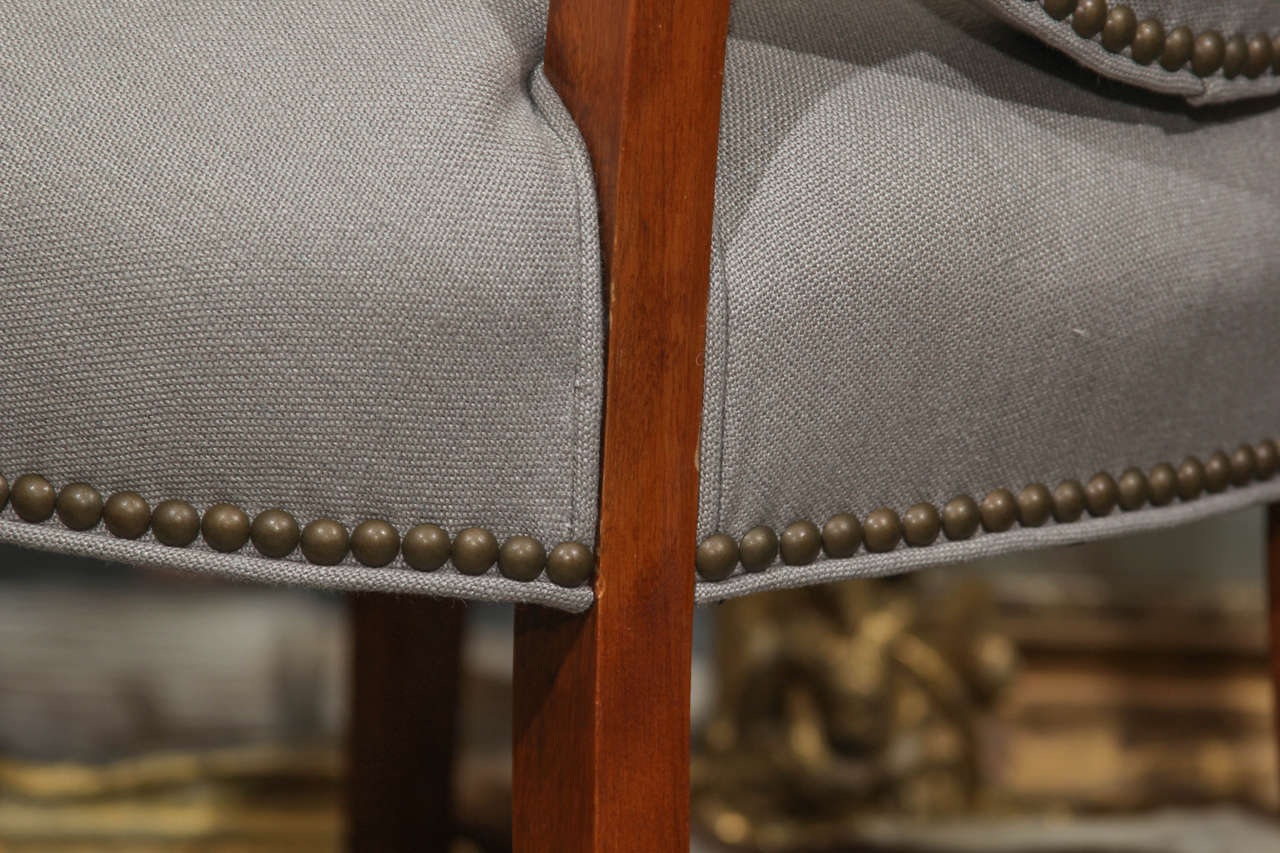 Grey Linen Side Chair 5
