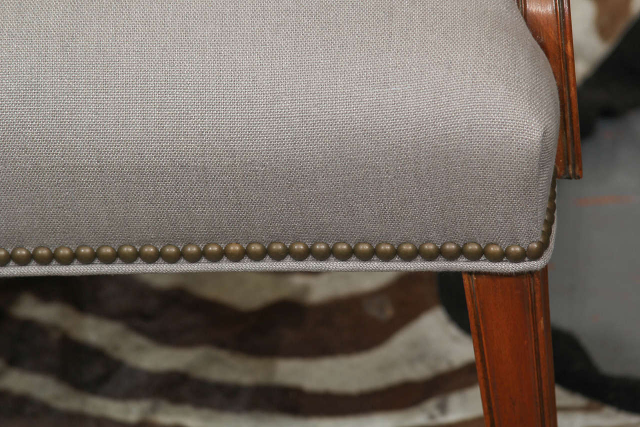 Grey Linen Side Chair For Sale 3