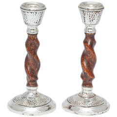 Arts & Crafts Jacobean-Style Sterling Silver Mounted Barley Twist Candlesticks