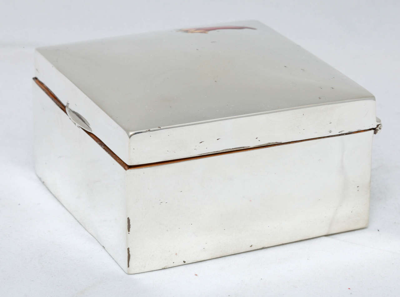 Edwardian Sterling Silver and Enamel Table Box For Sale 3