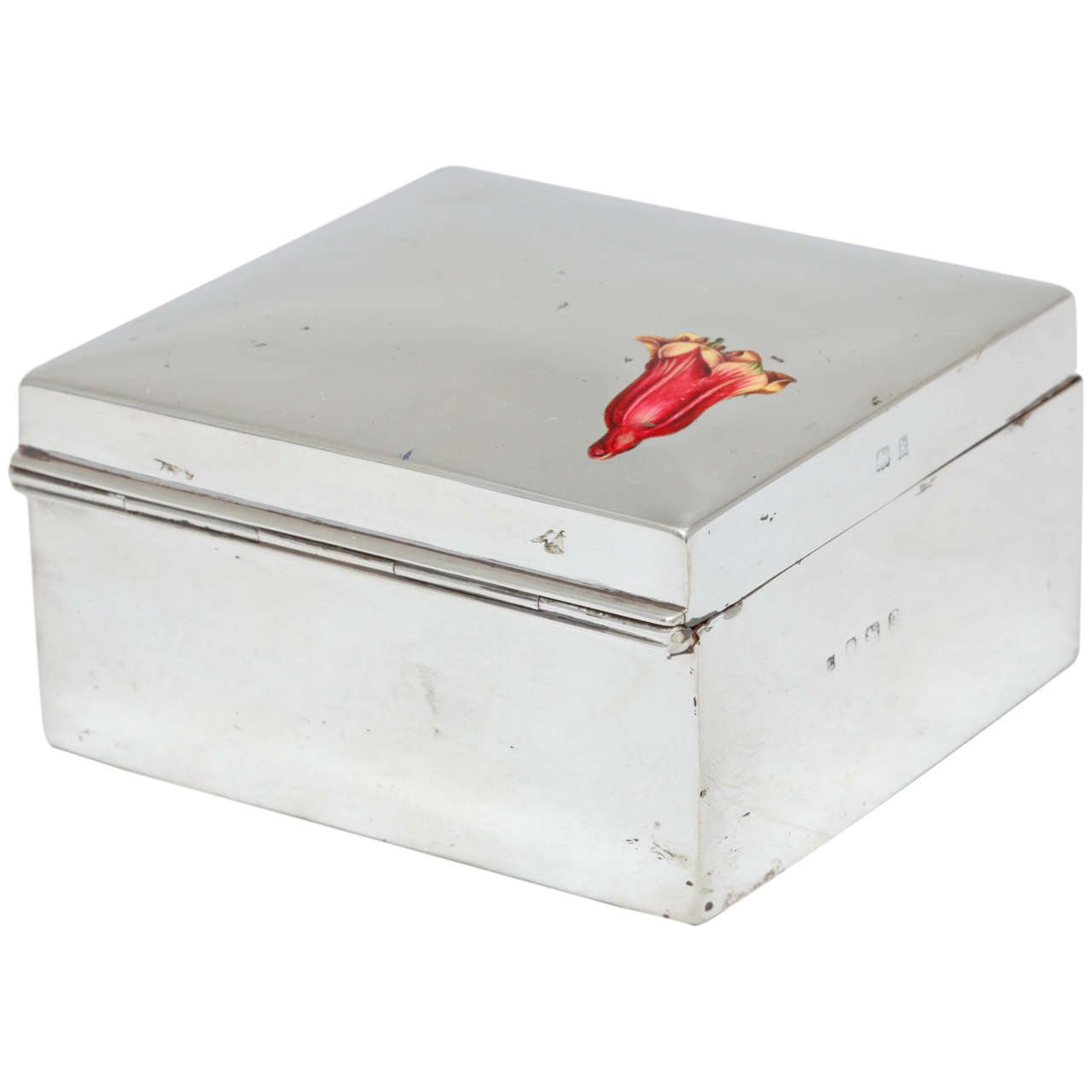 Edwardian Sterling Silver and Enamel Table Box