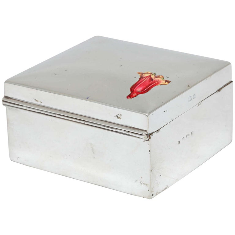 Edwardian Sterling Silver and Enamel Table Box For Sale