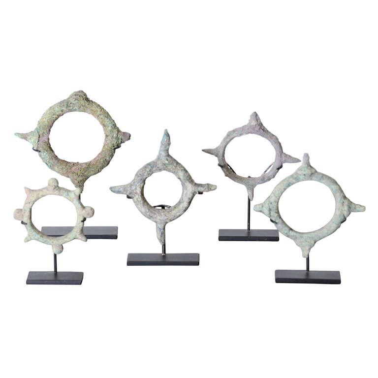 Set of Five Bronze Bracelets For Sale