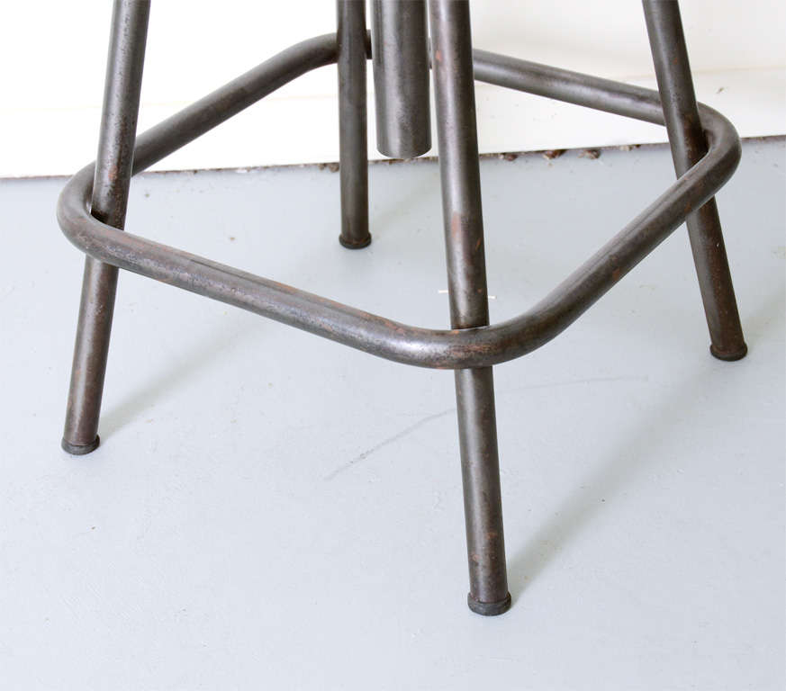Industrial Steel Swivel Stool With Wooden Top At 1stdibs