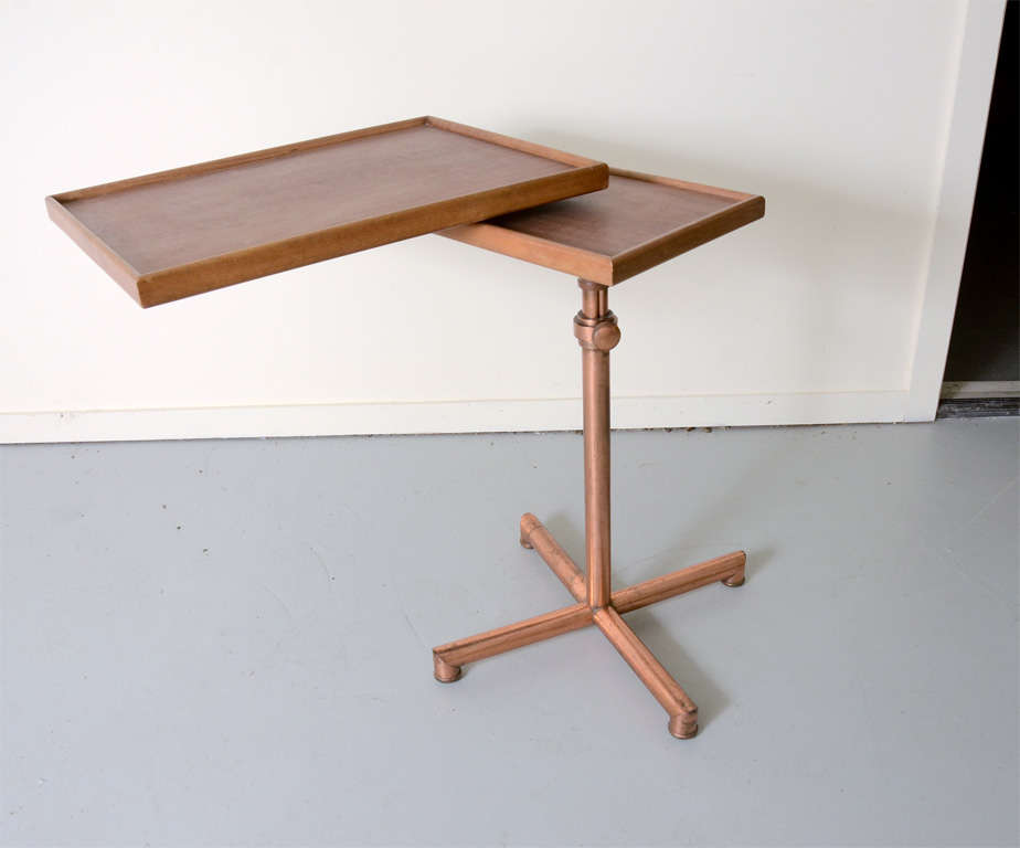 adjustable table with copper base by francois caruelle at 1stdibs. Black Bedroom Furniture Sets. Home Design Ideas