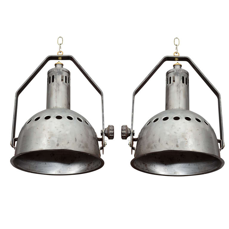 Pair of French Industrial Pendant Lights