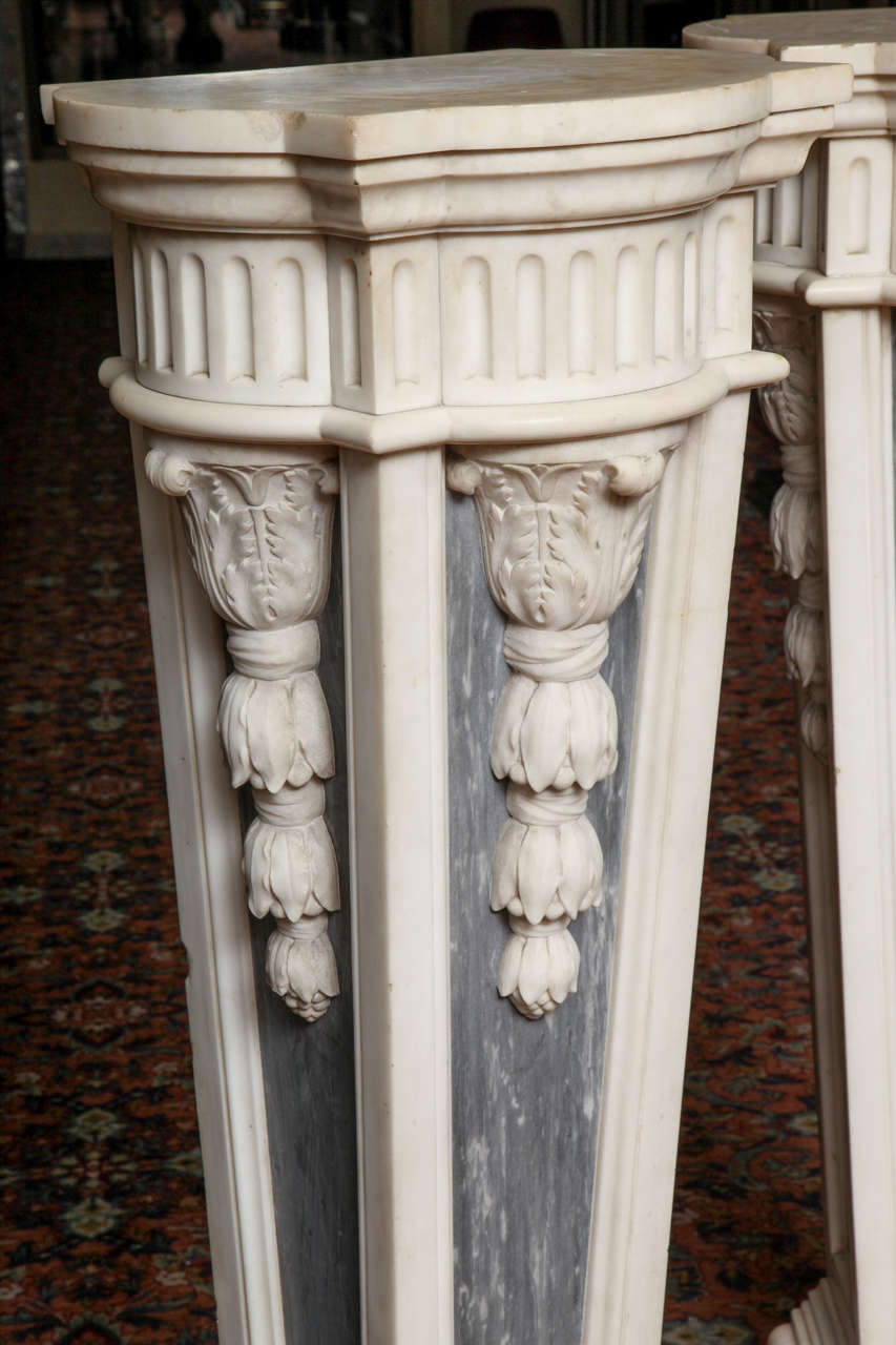 19th Century Pair of French Louis XVI Style, Two-Toned Carrera and Grey Marble Pedestals For Sale