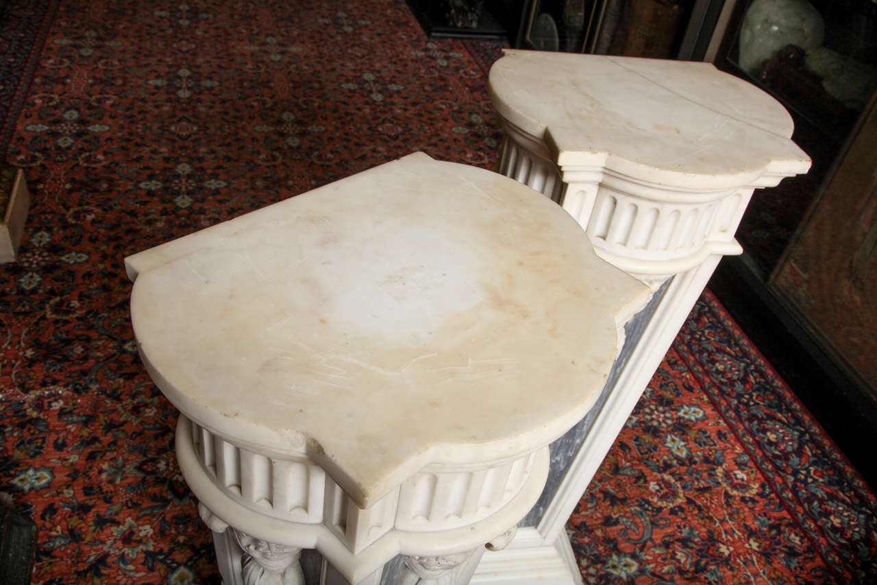 Pair of French Louis XVI Style, Two-Toned Carrera and Grey Marble Pedestals For Sale 3