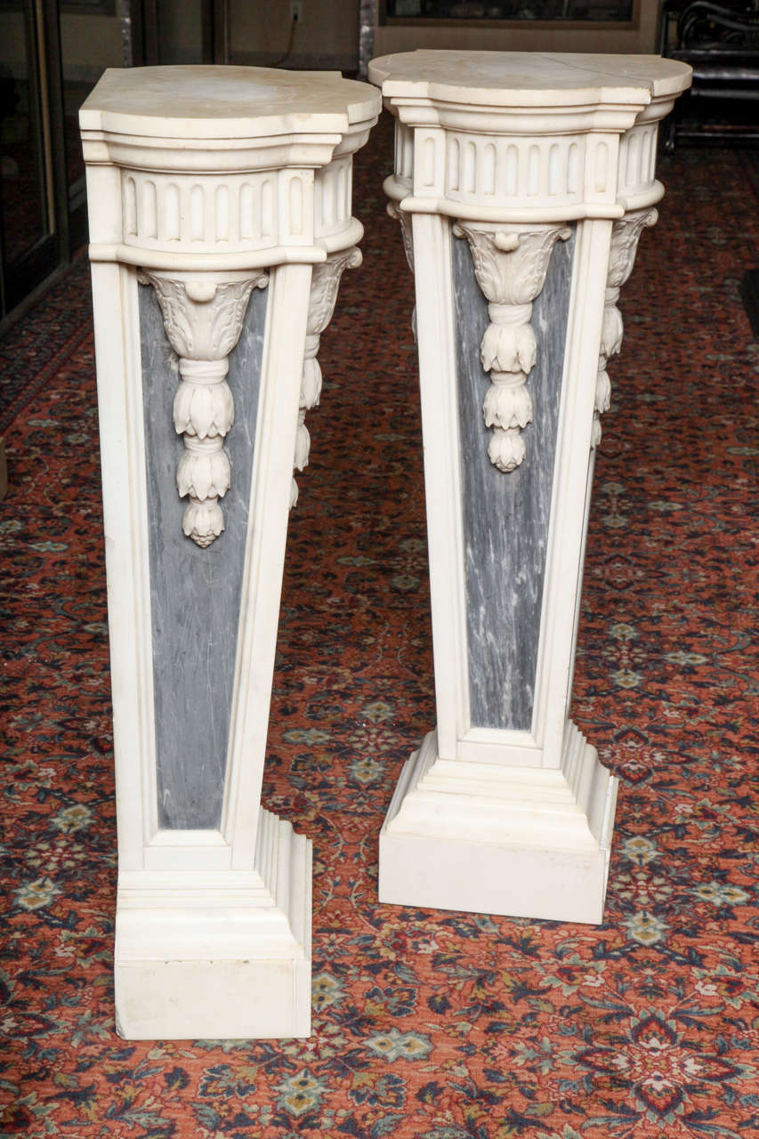 Pair of French Louis XVI Style, Two-Toned Carrera and Grey Marble Pedestals For Sale 4