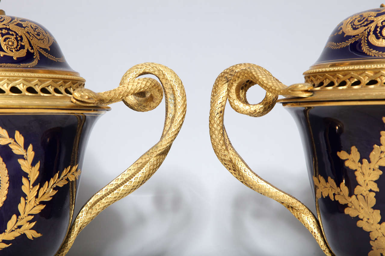 19th Century Pair French Napoleanic Sevres Porcelain & Ormolu Covered vases/Pot Pourries For Sale