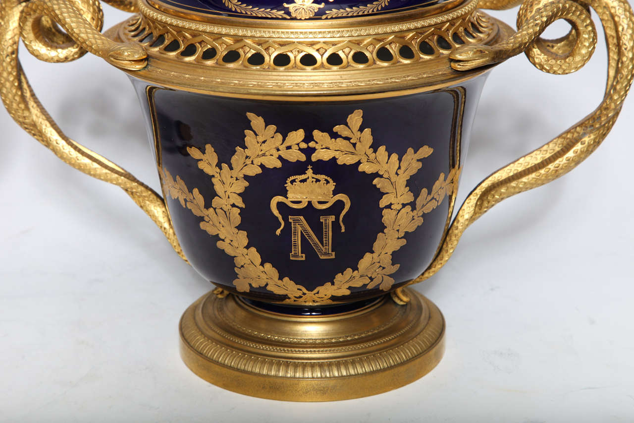 Pair French Napoleanic Sevres Porcelain & Ormolu Covered vases/Pot Pourries For Sale 2