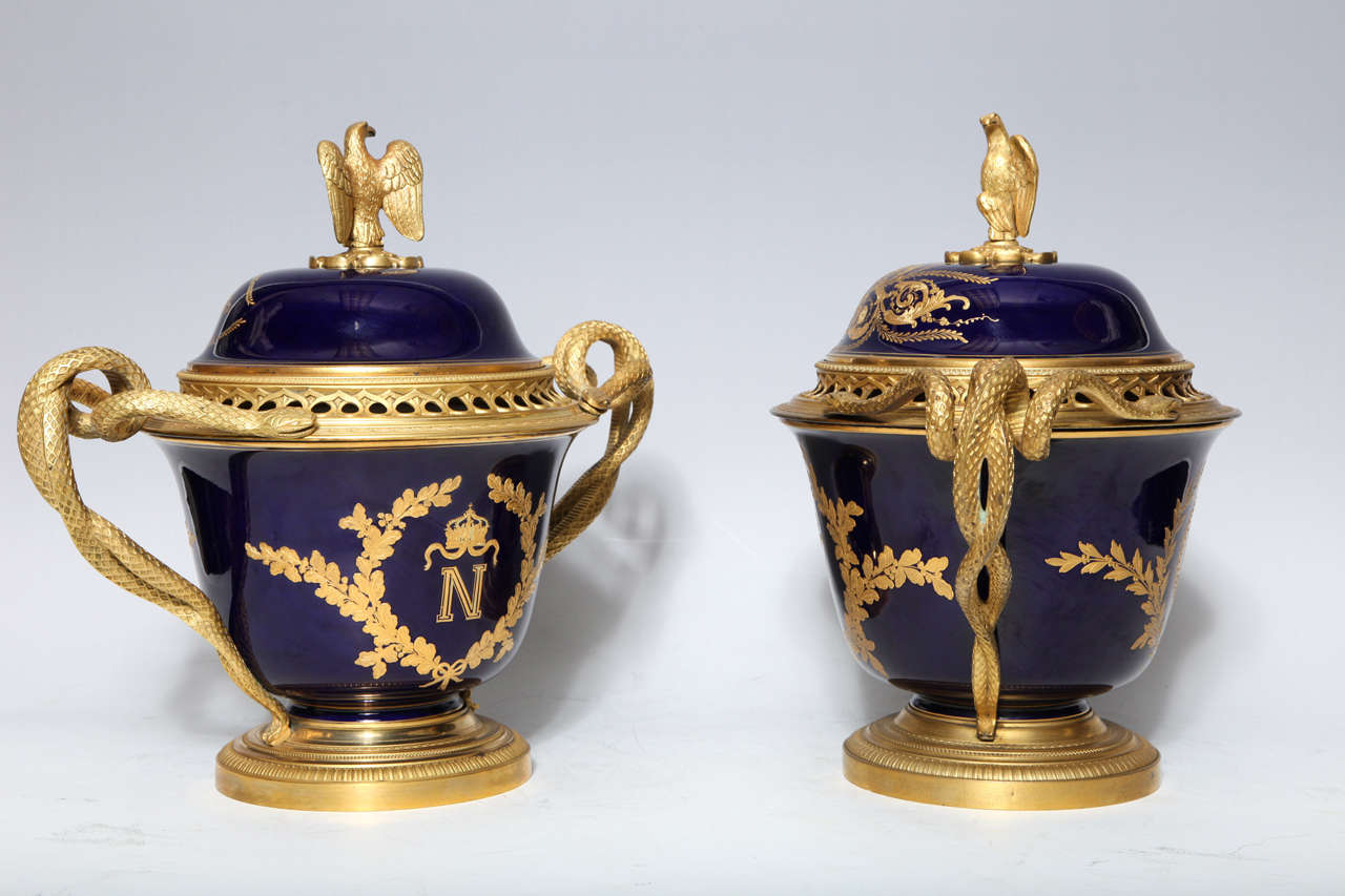 Pair French Napoleanic Sevres Porcelain & Ormolu Covered vases/Pot Pourries For Sale 3