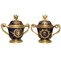 Pair of French Napoleanic Sèvres Porcelain and Ormolu Covered Vases/Pot Pourries