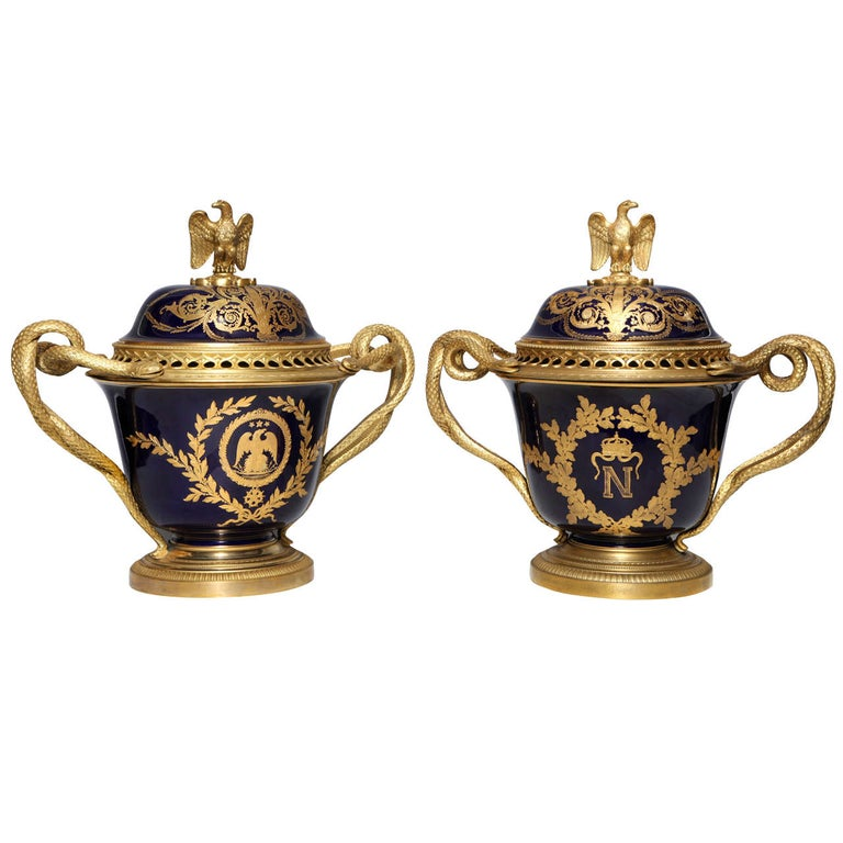Pair French Napoleanic Sevres Porcelain & Ormolu Covered vases/Pot Pourries For Sale